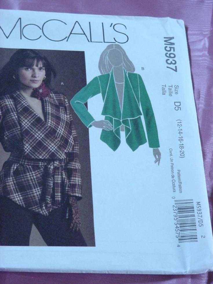 Lined Jacket McCalls Pattern M5937  Size 12-20 No. 142