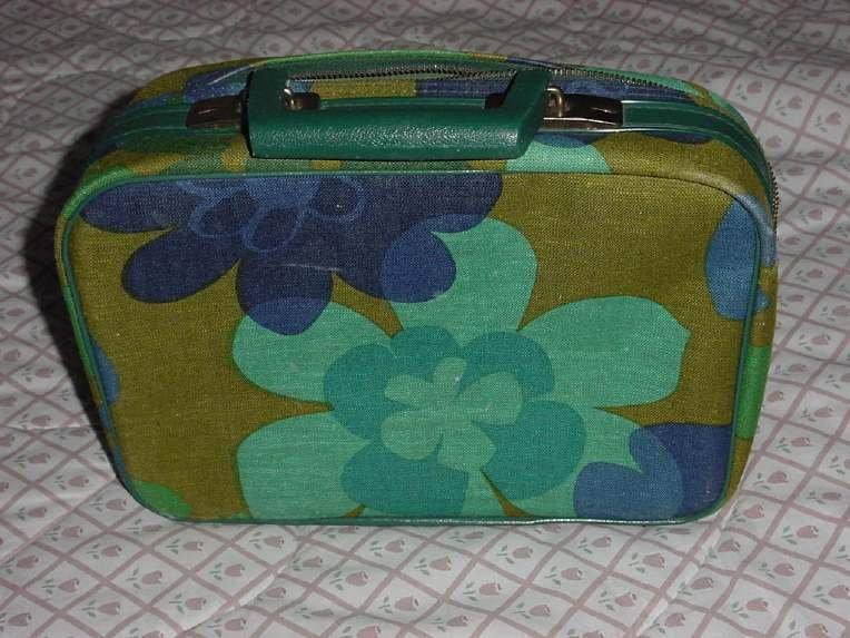 Flower Power vintage make-up case Luggage Vanity traincase Cosmetic Case