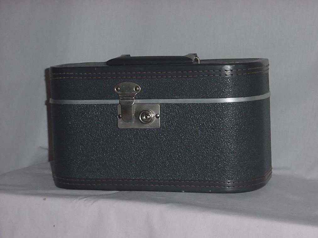 Train Case vintage gray train case Luggage Vanity traincase Cosmetic Case