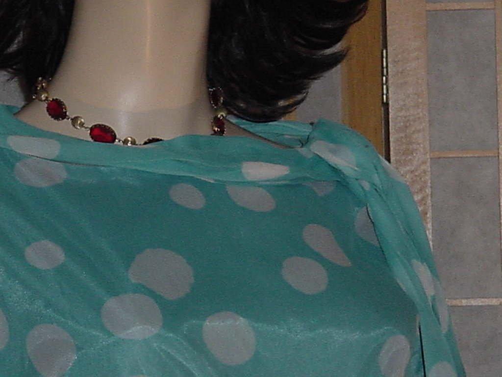 L'aiglon 1960s dress Turquoise white polka dot wiggle dress Vintage Bust 40  No. 143