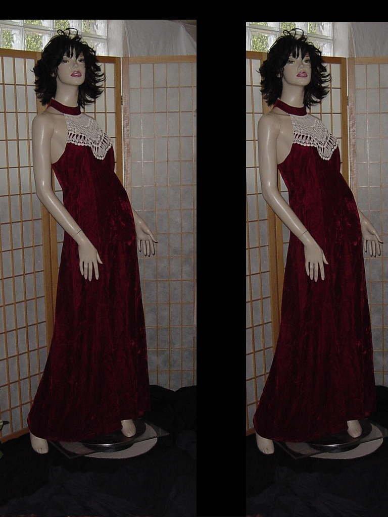 Vintage Formal Dress Red Velvet White lace yoke 1970s Evening Prom Cruise Dance Dress 143