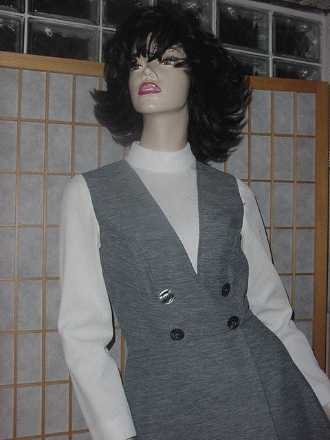 Vintage dress  C M Coventry Charcoal Gray white bust 34 No. 154