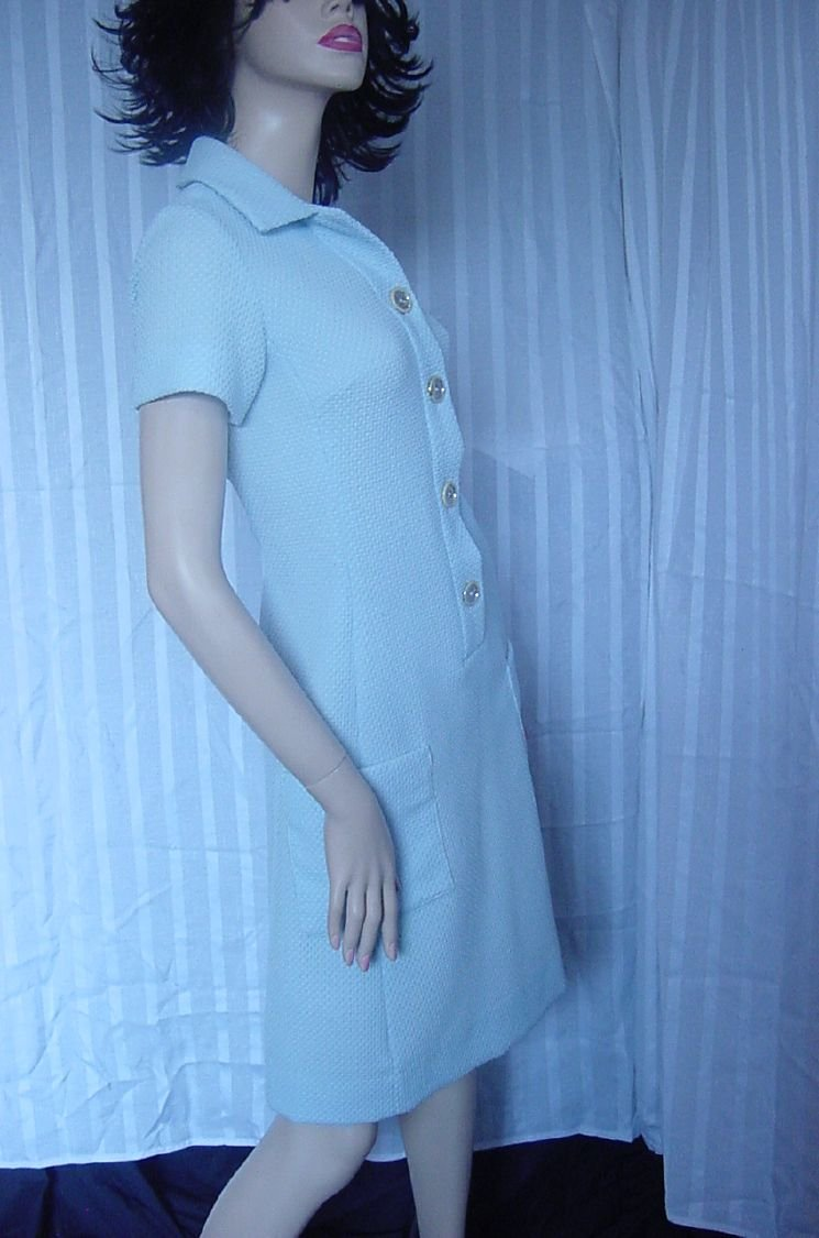 Short vintage Dress sky blue 1960s shift dress Waffle Knit Bust 32 No. 28