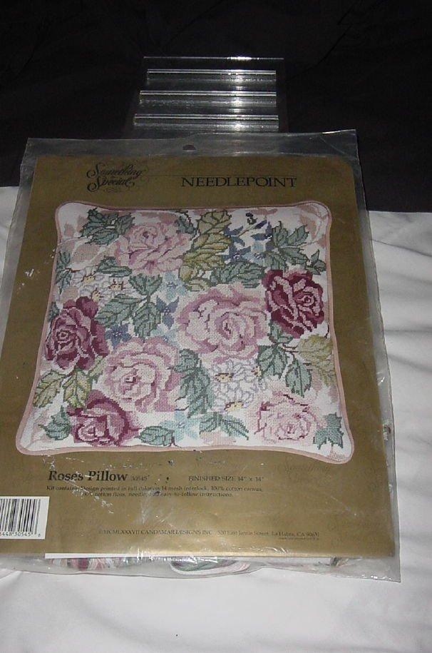 Roses Needlepoint Pillow Kit Something Special Kit Unopened  No. 150