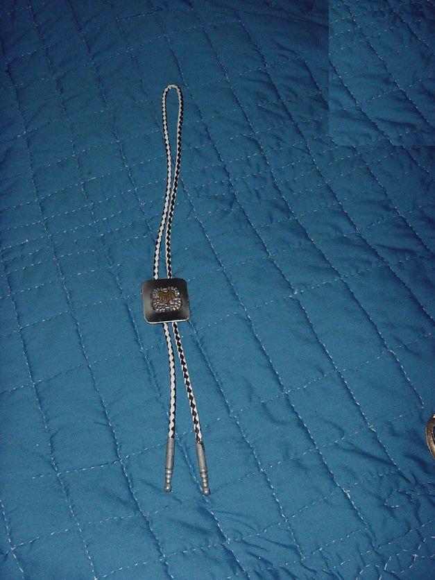 Boot lace Bolo tie Bronze Color Saddle silver tone Brown white Leather No. 160