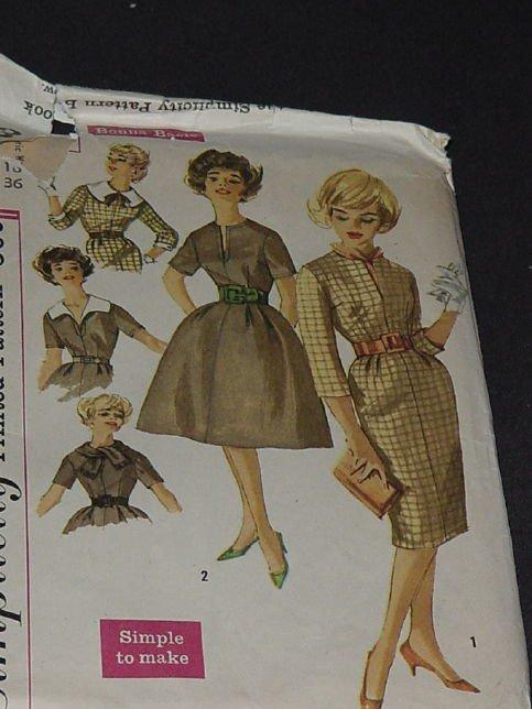 Simplicity 1960s uncut Vintage Dress pattern 3153 Size 16 Bust 36  No. 162