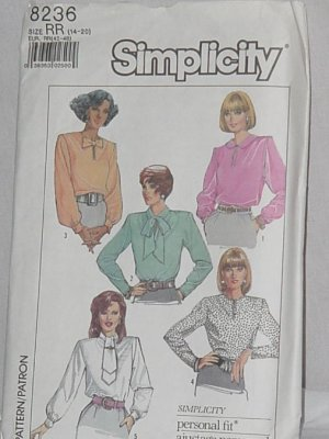 8236 Simplicity Misses Easy to Sew Blouses  No. 165