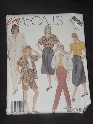 McCall's 3096 half size shirt top skirt pants shorts No. 165