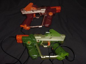 Two Hasbro Tiger laser tag guns Lazer tag Orange Green