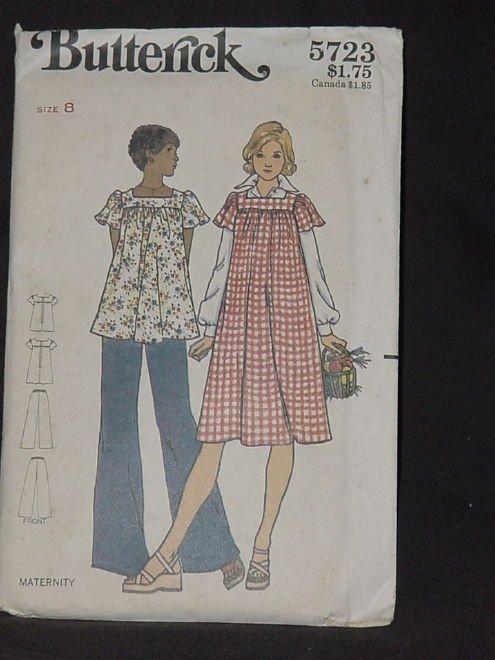 Vintage uncut Butterick pattern 5723  Maternity Dress Top Size 8 Bust 31 1/2 Pants No. 165
