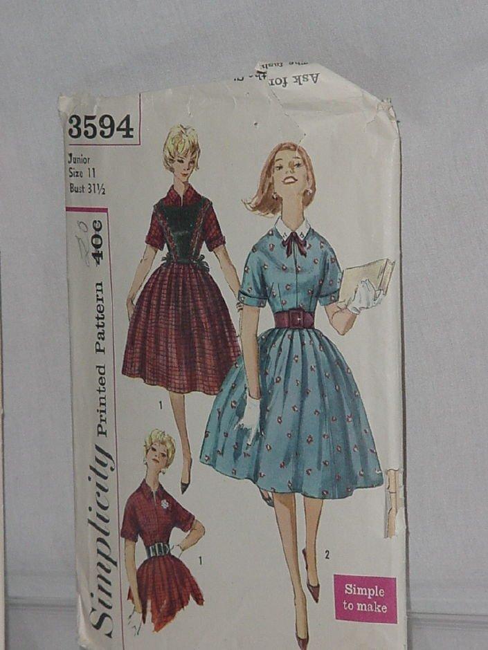3594 Simplicity Size 11 Bust 31 1/2   Teen Junior Vintage dress shirtwaist dress  No. 32