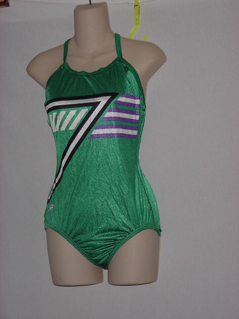 New With Tag Womens Speedo 1 piece Green White Black Size 36 Swimsuit  No. 170