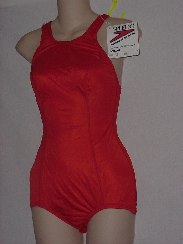 Speedo Swimsuit. Medium Orange Nylon Style 75035, 34L  No. 170