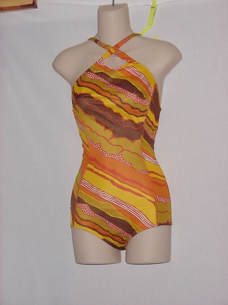 Womens Speedo 1 piece Bust 32 Swimsuit Orange Brown White  No. 170