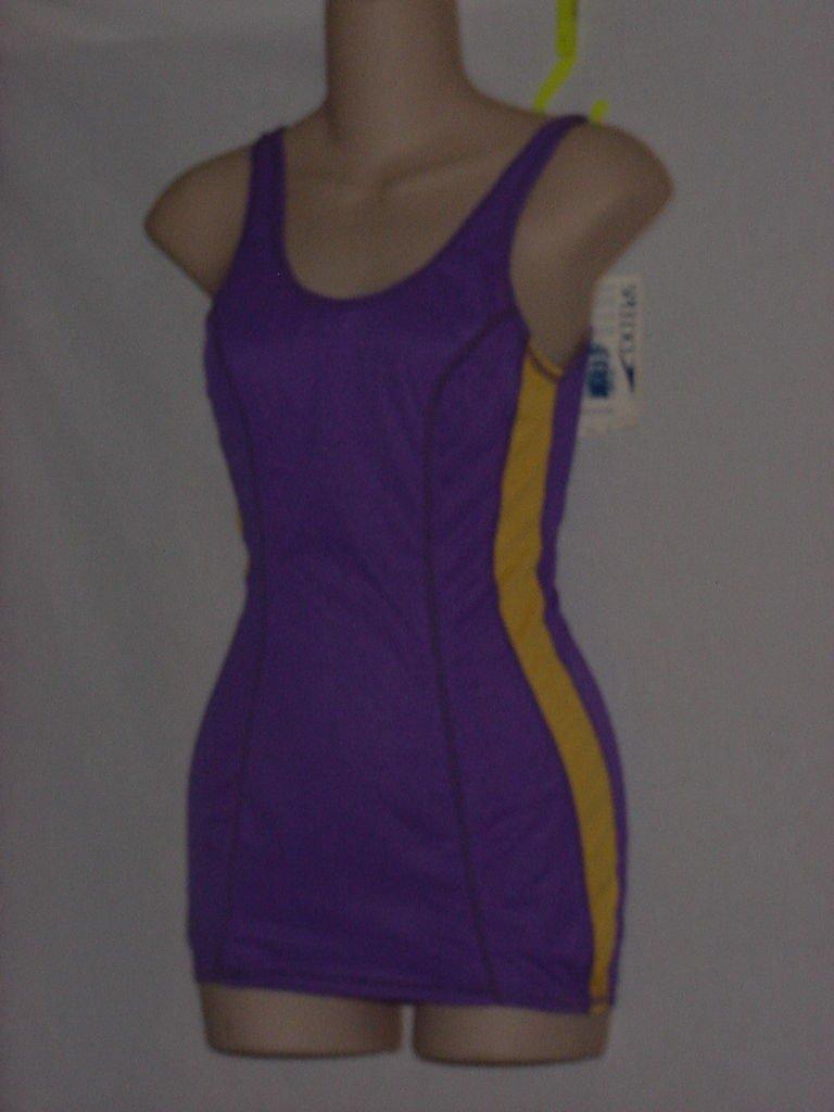 Womens Speedo 1 piece Purple Gold Size 34L  Swimsuit  No.  170