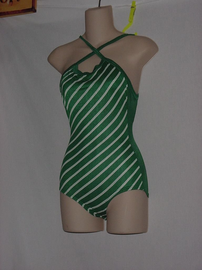 New Without Tag Womens Speedo 1 piece Green White Stripe Size 30-12 Swimsuit 170