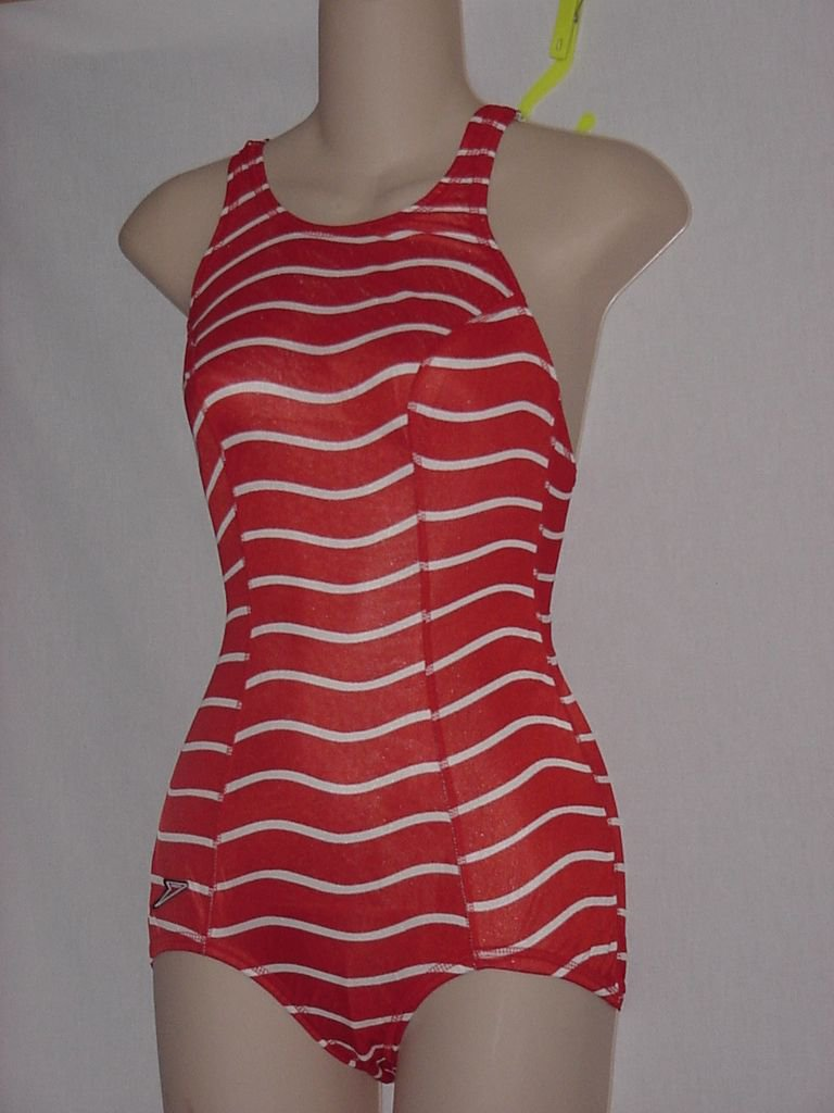 New With Tag Womens Speedo 1 piece Tidal Wave Orange White Stripe Size 34 Swimsuit  No. 170
