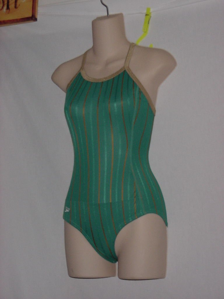 New Without Tag Womens Speedo 1 piece Team Green Tan Stripe Size 32-14 Swimsuit  No.  170