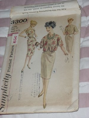 3300 Simplicity Size 11 Bust 31 1/2   Misses' Junior Uncut Vintage dress Jacket No. 32