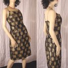 1950s 1960s Prom Party Dress Spaghetti Straps Wiggle Black Gold brocade Party Dinner Dress No. 164