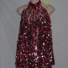 Red and Silver Bangled Dance Costume Size MC Recital Jazz Tap Hip Hop Costume  No. 171
