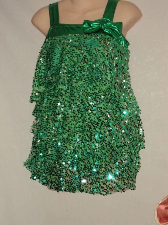Green Silver Small Sequin Bangled Dance Costume Size XLC Recital Jazz Tap Hip Hop Costume  No. 171