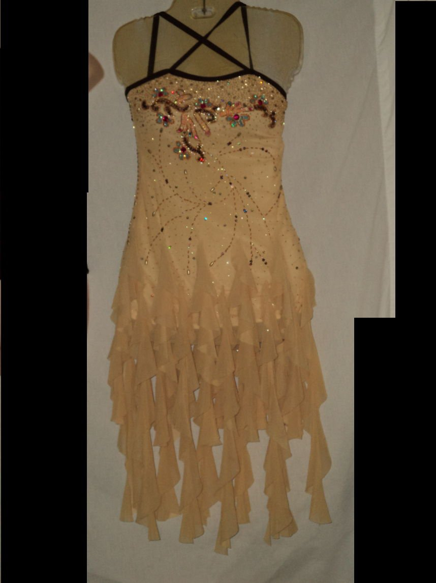 Yellow Brown Dance Costume Size MC Recital Jazz Tap Hip Hop Costume  No. 171