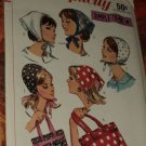 Original Simplicity Pattern 6358 Vintage Tote Bag Hat Scarf 1960s pattern No. 174