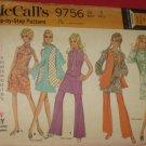 McCall's Dress Pattern 9756 Bell bottom pants mini dress vest Uncut pattern No. 175