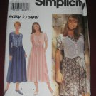 Simplicity Sewing Pattern 9597 size AA XS, S, M Pullover dress Mock Vest