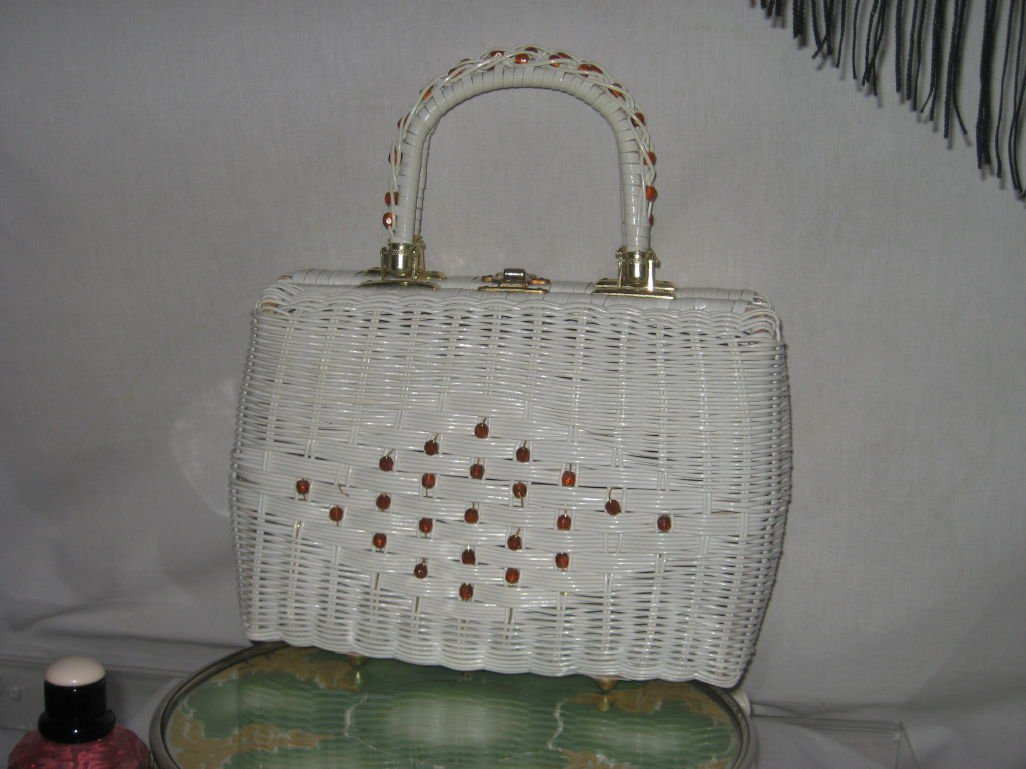 Vintage Babette plastic straw Wicker Purse Hand bag No. 172