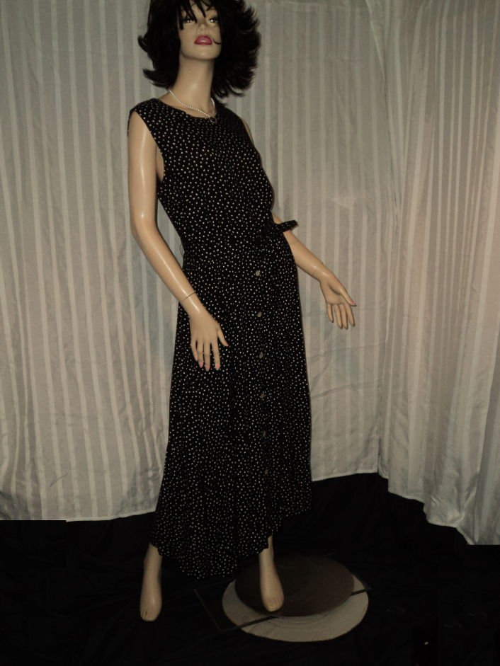 Black White Polka Dot Sleeveless Long Dress Size 12 No. 188