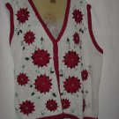 Christmas sweater Vest Poinsettias Red White 24w/26 W No. 186