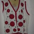 Christmas sweater Vest Poinsettias Red White 24w/26 W No. 186