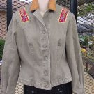 Ropa Denim Jacket Hairston Roberson Distressed Green Brown Collar Size Small No. 188