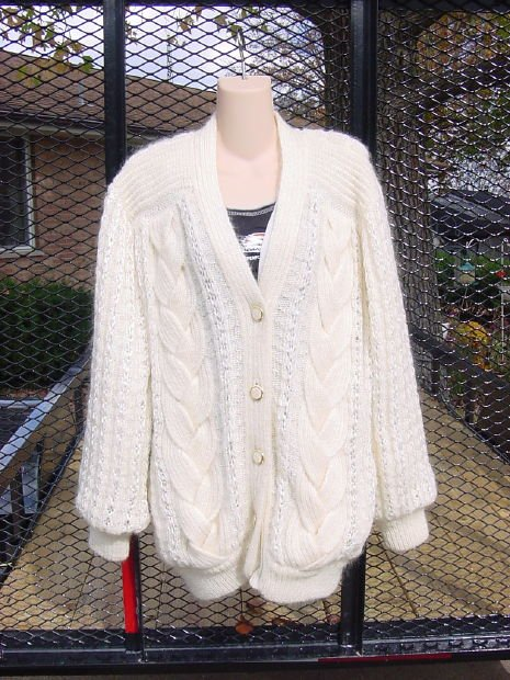 Australia Sweater Mohair Knit look Lined Cable stitch  No. 129a