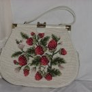 Strawberry Purse Vintage Cross Stitch Mid Century Purse   No. 147