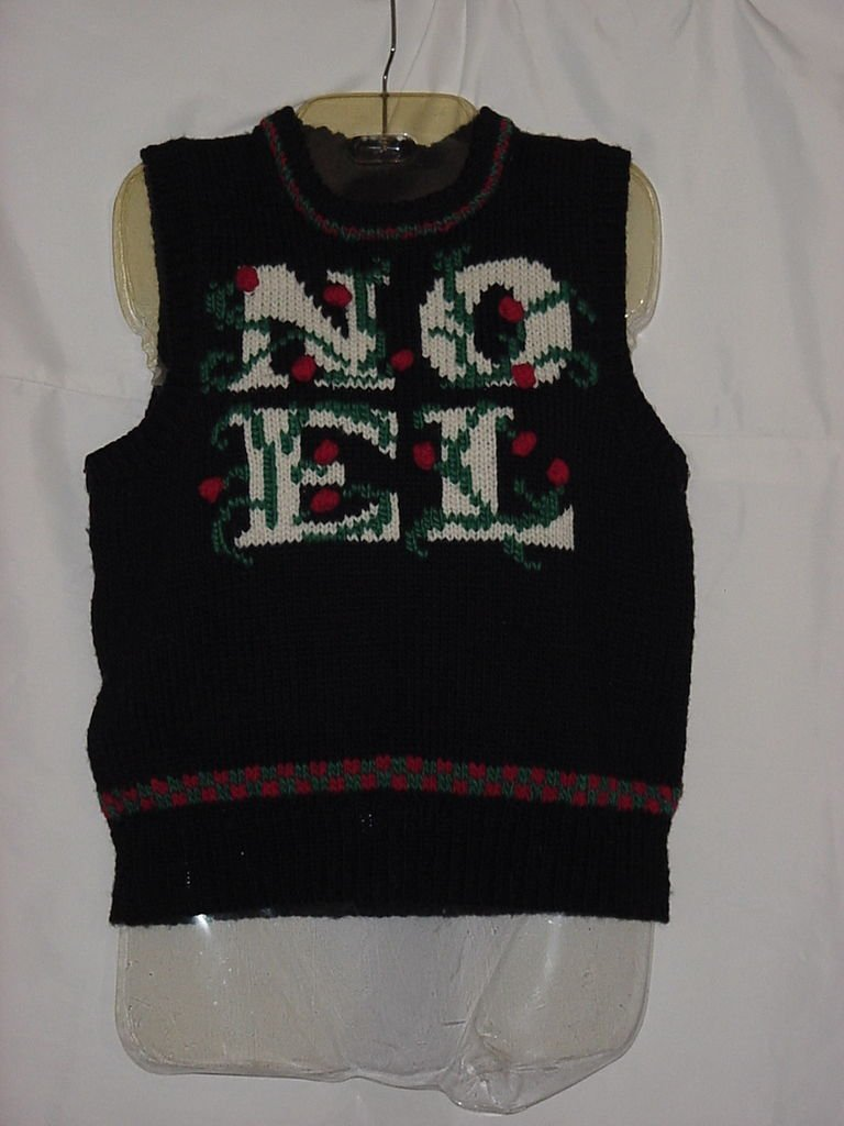 Christmas Sweater Vest NOEL Small Vest    No. 147
