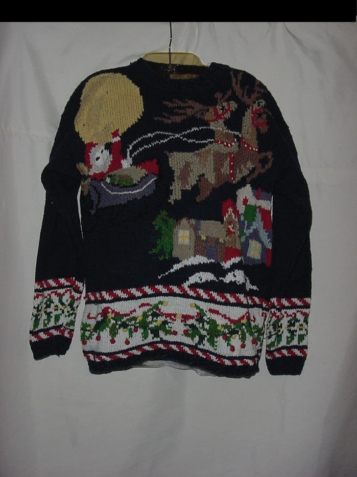 Christmas Sweater Santa Reindeer riding across Moon Night sky  No. 81