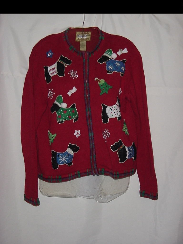 Christmas Sweater Scotties Red Sweater Decorated Scotties Christmas trees No. 81
