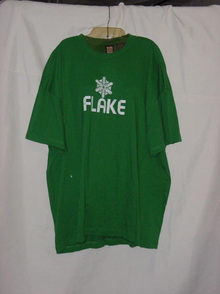 Green Cotton Winter Holiday T Shirt White Flake XXXL No. 187