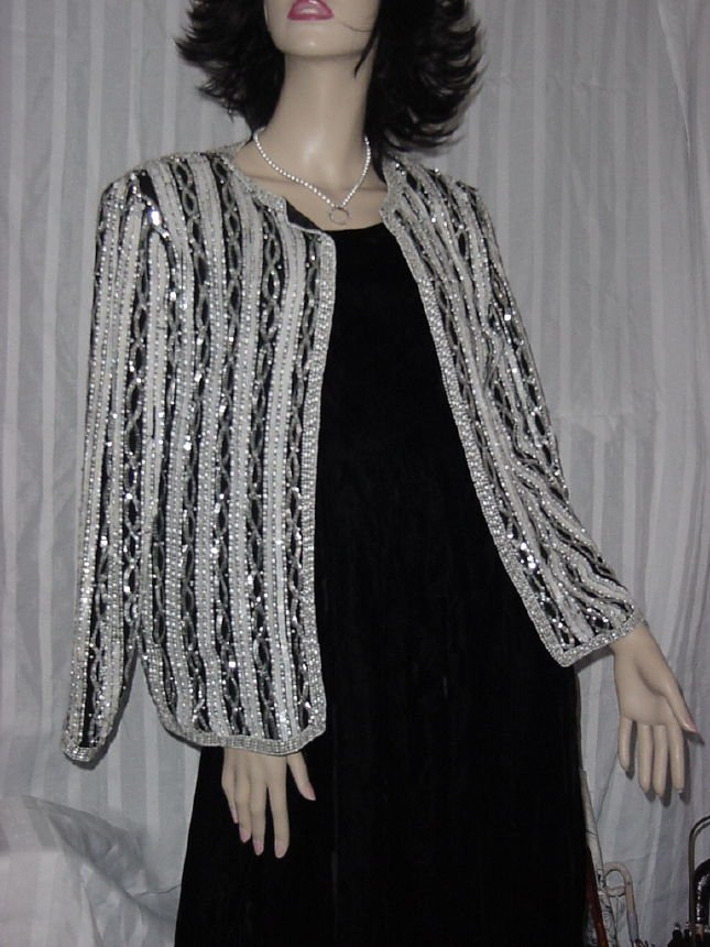 Glitzy Adrianna Papell Sequinned Beaded Evening Jacket Cover up Blazer  Size Small Bust 38 No. 187