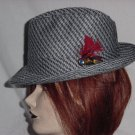 Black Gray Mens Dress Hat Fedora Vintage hat 6 3/4 Polyester Knit  No. 190