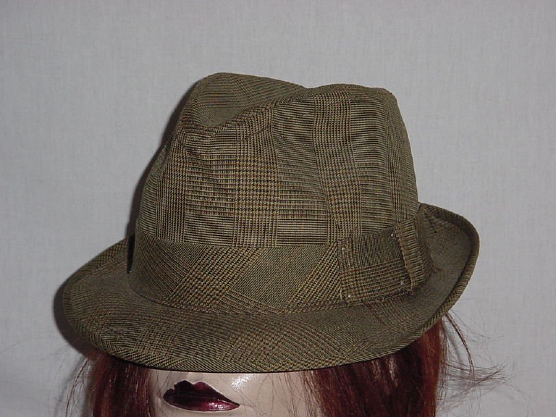 Brown small check Tweed Mens Dress Hat Fedora Vintage hat 6 1/2  No. 190