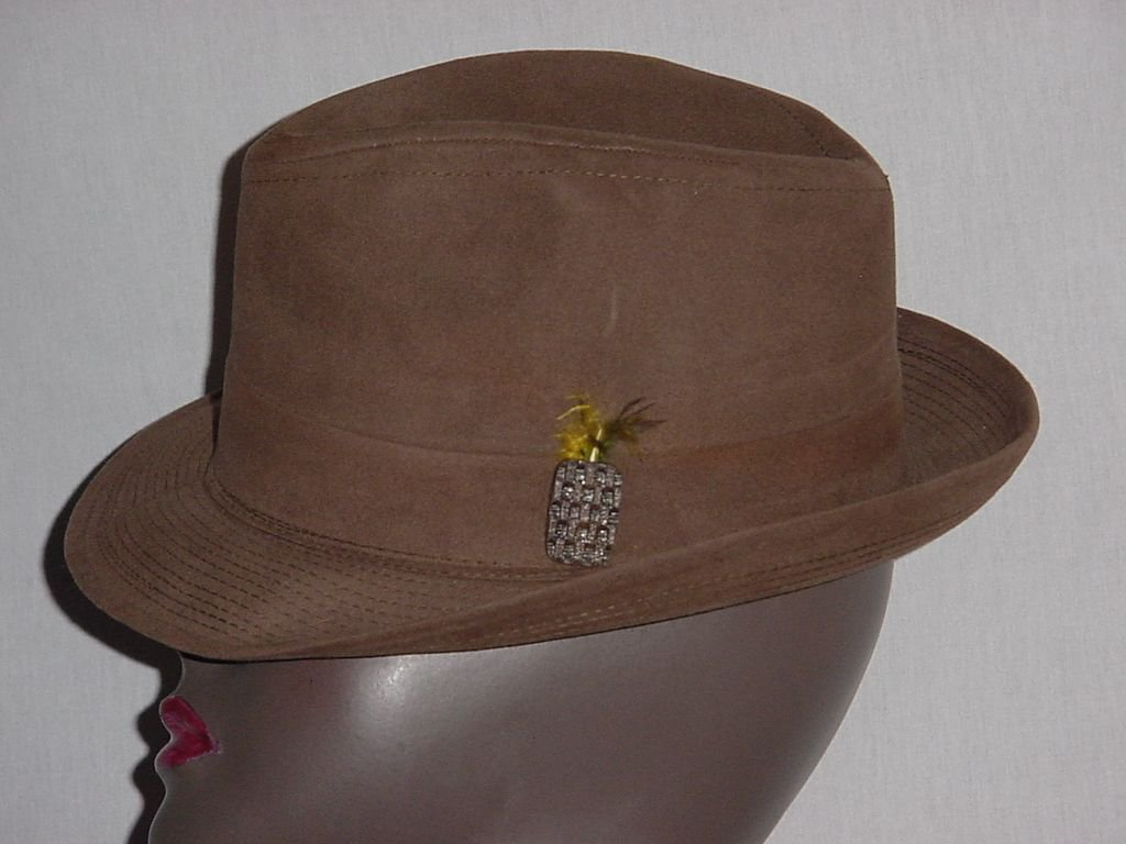 Brown Suede Mens Dress Hat Fedora Vintage mens hat No. 190