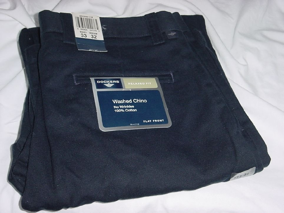 Mens Navy Blue Dockers Pants 32  x 33  New With Tag Navy Blue No. 190