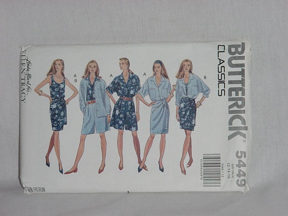 5449 Butterick Misses' Shirt, Tank Top Double Wrap Skirt Shorts Pattern Size 12-14-16 Uncut No. 192