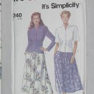 7240 Simplicity Misses' Jacket Skirt sewing Pattern Size 8-20  Uncut No. 192