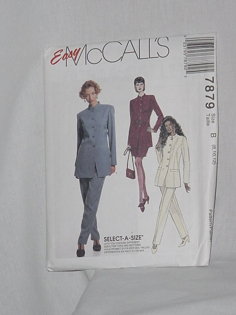 7879 McCalls Misses' Unlined Jacket Skirt Pants sewing Pattern Size B 8, 10, 12  Uncut No. 193