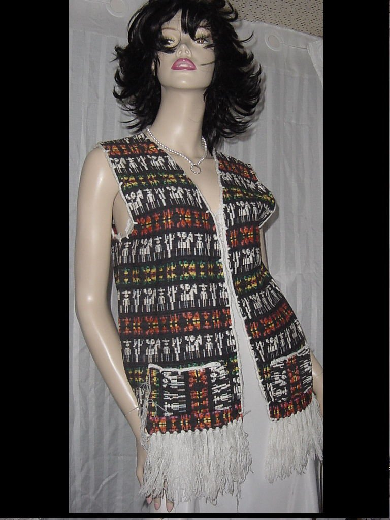 Colorful ethnic vest Stylized Design Orange Blacks hobo hippy fringed vest No. 206